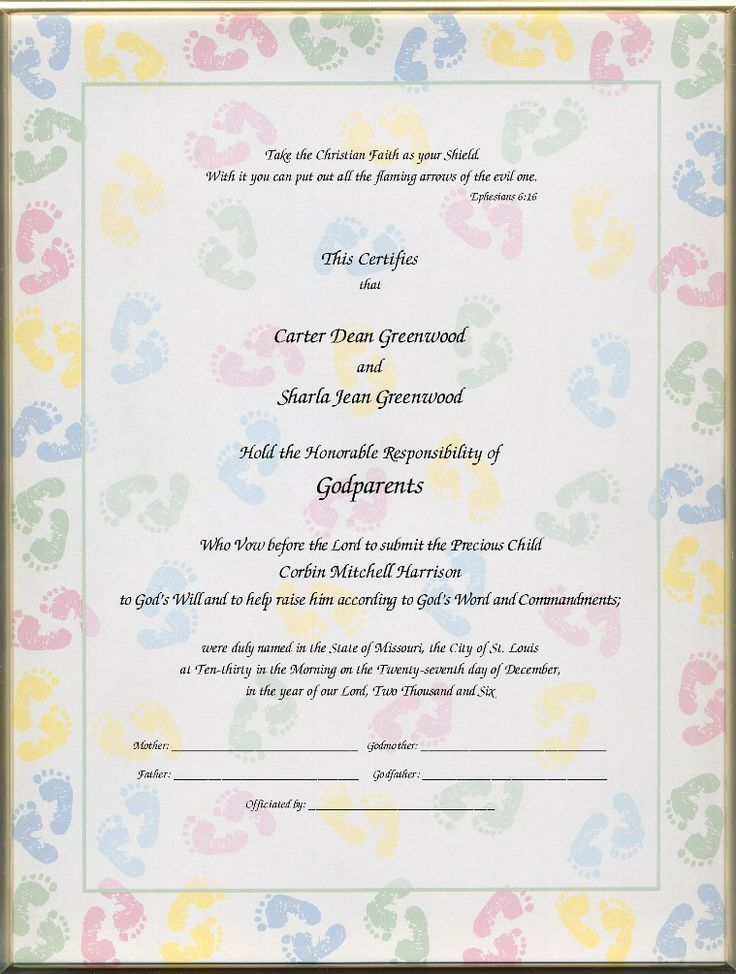 Christening Certificates For Godparents Certificates