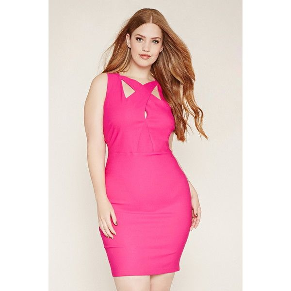 Forever 21 Plus Women's  Plus Size Cutout Sheath Dress (360 ARS) ❤ liked on Polyvore featuring plus size women's fashion, plus size clothing, plus size dresses, plus size sleeveless dresses, plus size pink dress, forever 21 and women plus size dresses