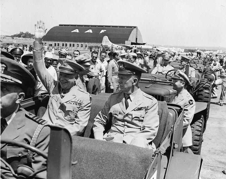 General Dwight Eisenhower and General George Marshall, Washington National Airport, Arlington, Virginia, 18 Jun 1945. (US National Archives)