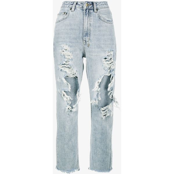 Ksubi Chlo High Waisted Distressed Cropped Jeans (1.700.805 IDR) ❤ liked on Polyvore featuring jeans, pants, bottoms, destructed jeans, high waisted ripped jeans, ksubi jeans, distressed cropped jeans and distressed jeans