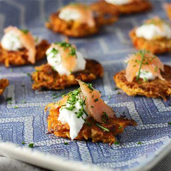 Gezonde koekjes van zoete aardappel met gerookte zalm ♥ Foodness - good food, top products, great health