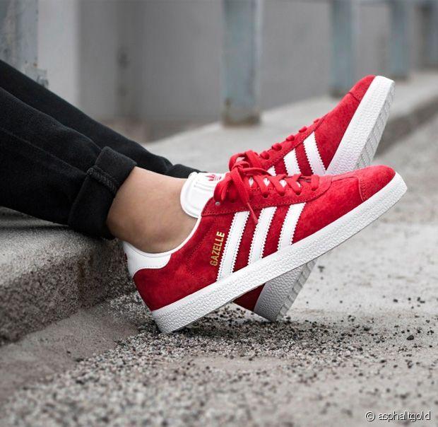 Les Gazelles rouges, un classique ! | Chaussures rouges, Chaussure ...