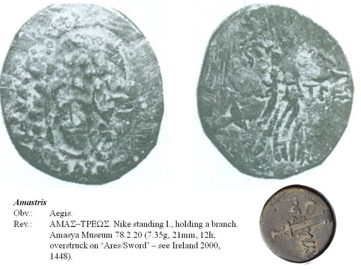 Greek overstrike. Paphlagonia. Amastris. Aegis/Nike on Head of Zeus/Sword. Time of Mithradates Eupator.
