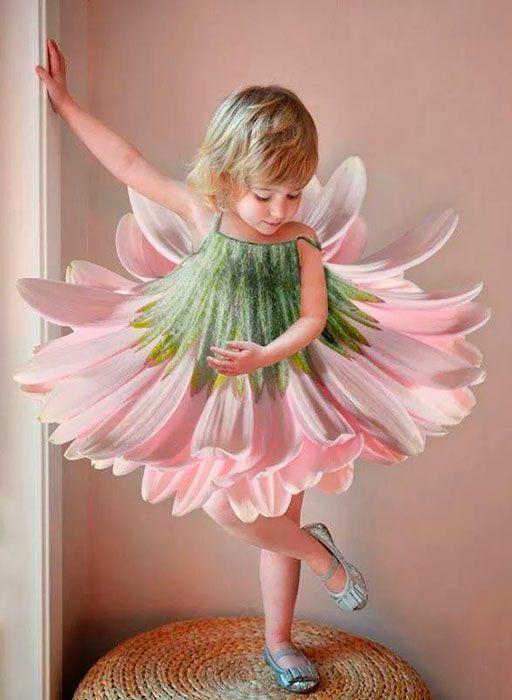 Disfraz de flor de primavera para niños