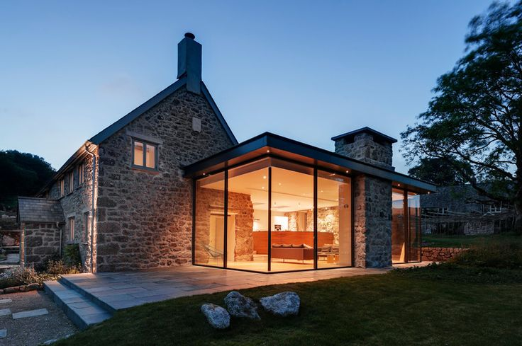 A Dartmoor Farmhouse With a Contemporary Extension - A complete renovation of this 18th century farmhouse included eco features and a gorgeous glass-box extension // van Ellen + Sheryn Architects