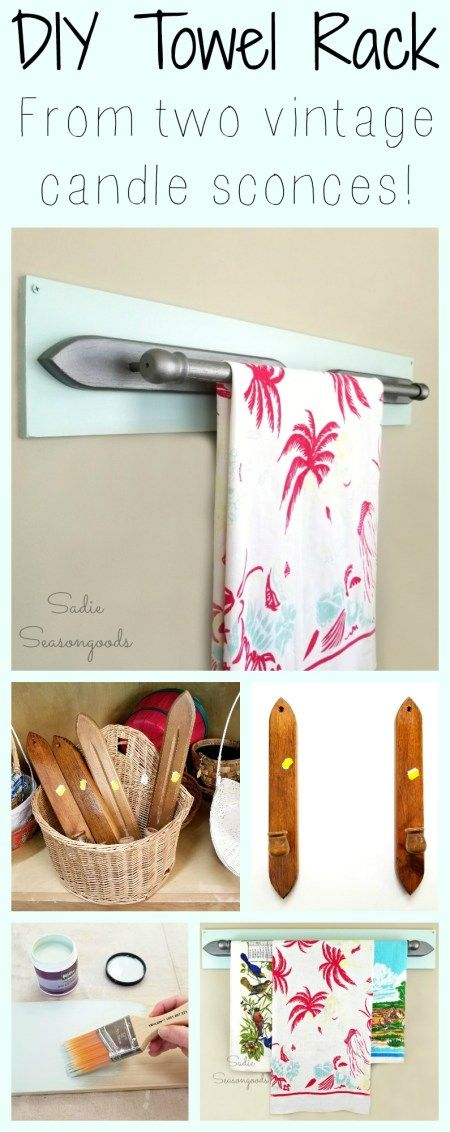 How to create a diy towel rack when upcycled and repurposed vintage wooden candle sconce from