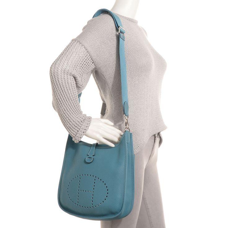 sacs hermes paris - hermes evelyne iii pm blue jean clemence, replica hermes evelyne bag