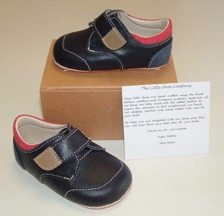 Ickle Shooz Navy Red Pram Shoes - Handmade Baby Ickle Shooz - Little Wanderers