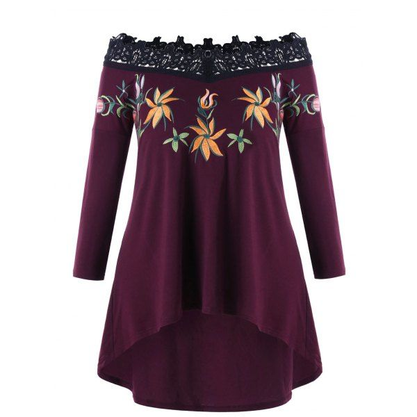 Embroidery Plus Size Off Shoulder High Low Top - 5xl Mobile