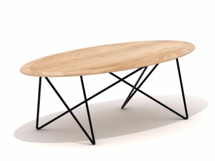 Mesa de centro de café oval de madeira ORB by Universo Positivo design JAN