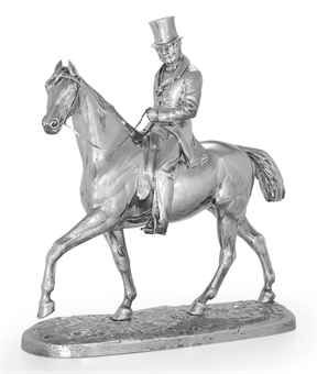 A VICTORIAN SILVER EQUESTRIAN FIGURE MARK OF HUNT & ROSKELL, LONDON, 1866 Modeled with a seated gentleman rider, mounted on a shaped oval silver base, marked on horse's hoof, base and nuts 20¼ in. (51.5 cm.) high; 180 oz. 10 dwt. (5,621 gr.)