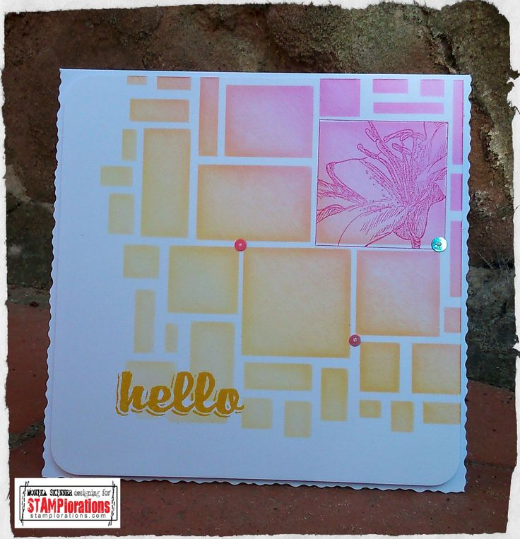 using Boxed Blooms and Bold Sentiments by STAMPlorations plus stencil or mask by Clarity Stamps