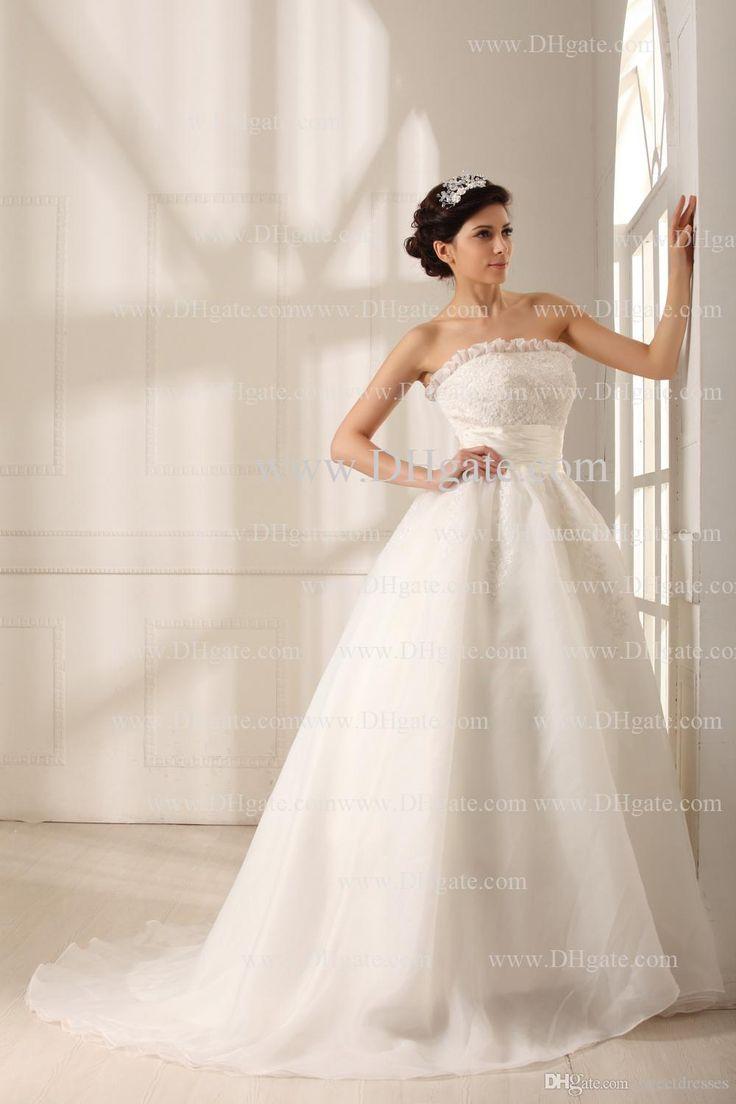 Bella increspature del merletto senza spalline 2016 abiti di sfera abiti da sposa Organza di nozze di dimensione abiti di alta qualità reale vestido de novia GD-115