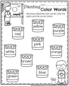 Back to School Kindergarten Worksheets - Painting Color Words