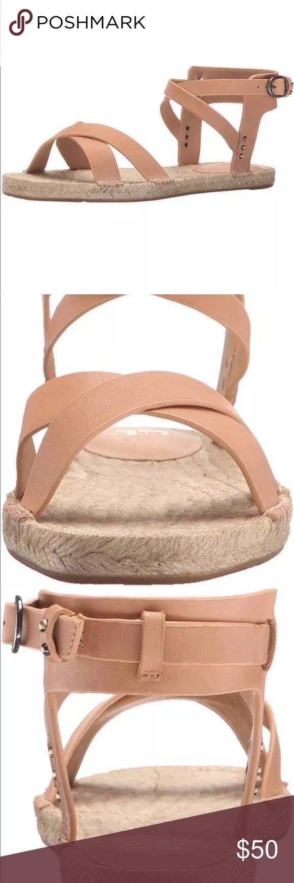 Joe's jeans nude espadrille tiger Ankle sandal Brand new. Never worn. No box. Flat espadrille sandal with raw edge leather upper. The perfect casual clean lined sandal  Features Leather Imported Rubber sole Soft leather and cushioned outsole Joe's Jeans Shoes Sandals