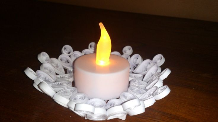 White candle holder 2 paper quilling candle holders for Cardboard candle holders