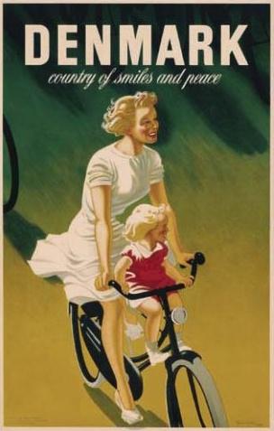 Denmark vintage travel poster #bicycle