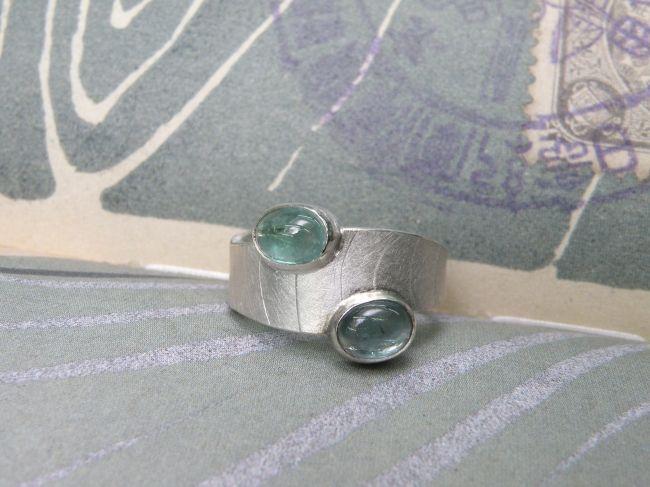* push present   oogst-sieraden * Ring * Zilver en toermalijnen * Ter ere van geboorte van de tweeling Fedde en Brecht *