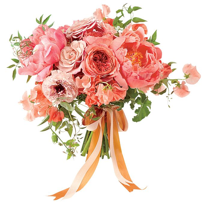 Brides.com: . A Romantic Wedding Bouquet with Pink Carnations. A mixture of pink carnations and roses tied with a tea-colored ribbon evokes pure, Italian-style amore.  Pink rose and carnation wedding bouquet, $350, Nicolette Camille Floral Design  See more carnation wedding flowers.