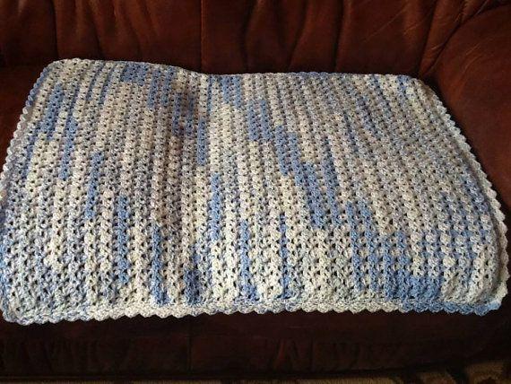 Blue crocheted pram  blanket by Happilyevercrafts on Etsy, £11.00