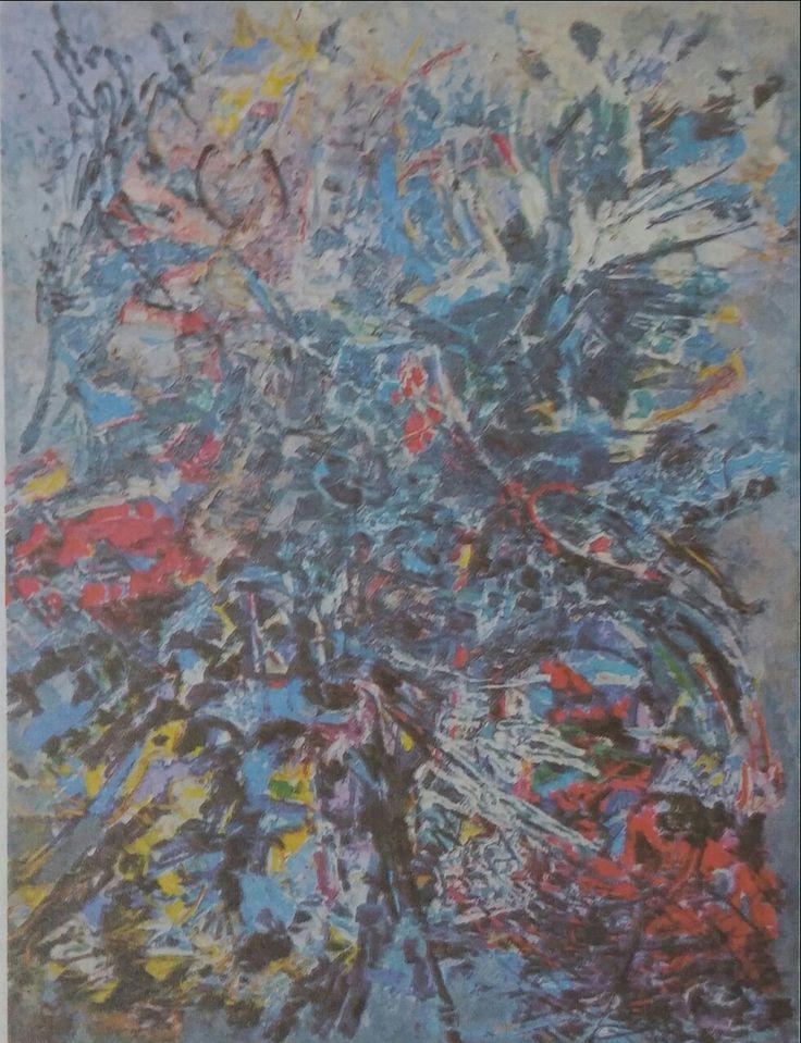 Zeki Faik İzer: Soyut. Tuval uzerine yagliboya. 80×90 cm. Ozel koleksiyon