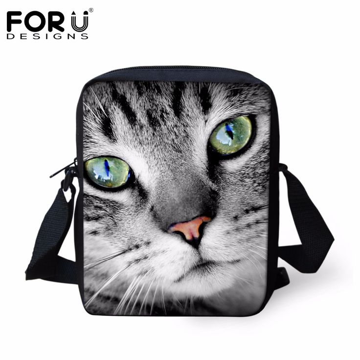 FORUDESIGNS Small Women Messenger Bags Cool Animal Cat Printed Casual Crossbody Bags for Ladies Shoulder Bags Bolsa Satchel Bag