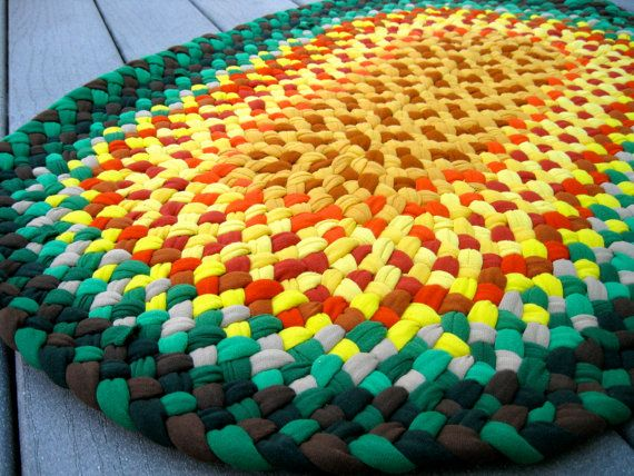 Braided Rug made with recycled cotton tee shirts, t shirts by full circle quirk on etsy