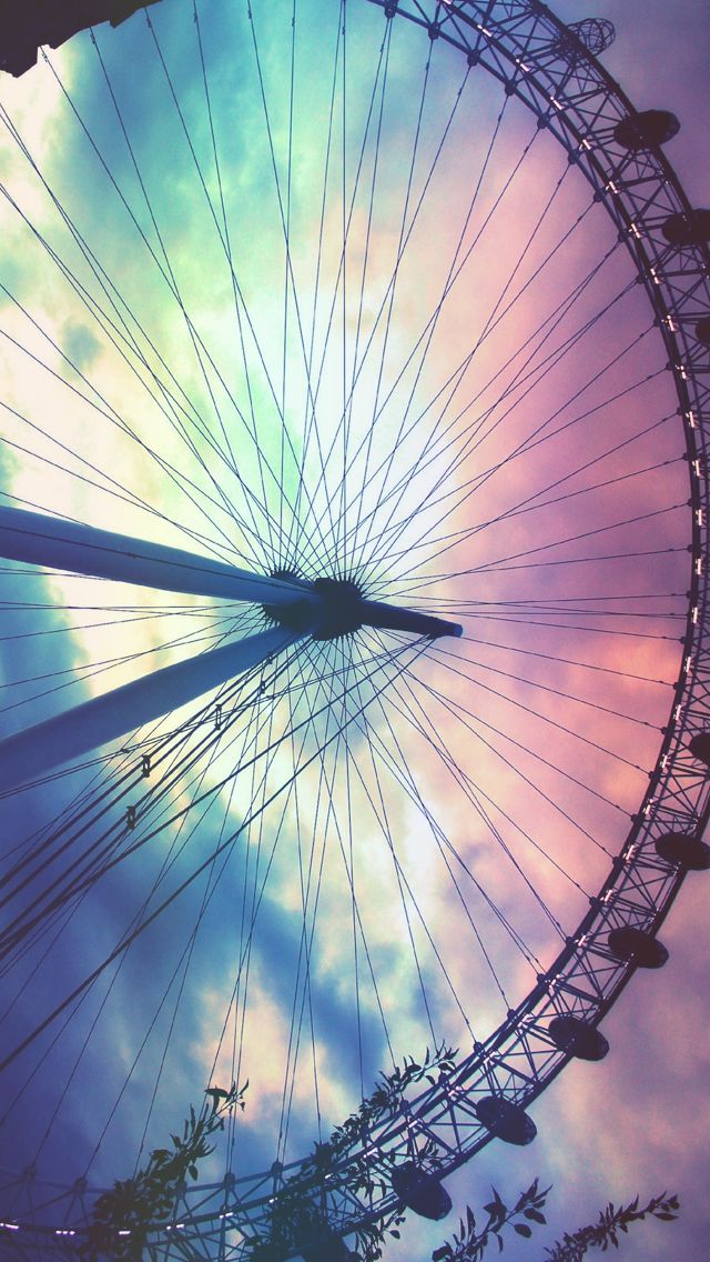 Ferris Wheel Colorful Sunset free iPhone wallpaper