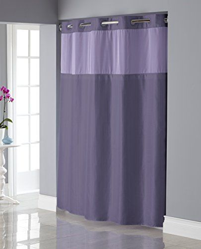 Hookless RBH34MY836 Shiny Texture Herringbone Shower Curtain with SnapIn PEVA Liner   Purple ** For more information, visit image link.
