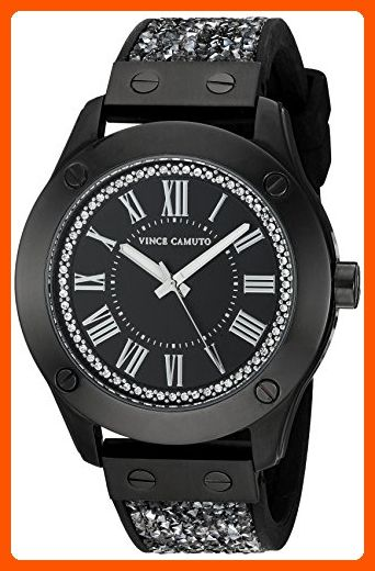 Vince Camuto Women's VC/5259BKBK Swarovski Crystal Fabric and Black Silicone Strap Watch - All about women (*Amazon Partner-Link)