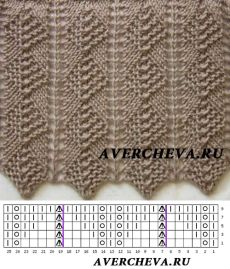 Узор 841| каталог вязаных спицами узоров