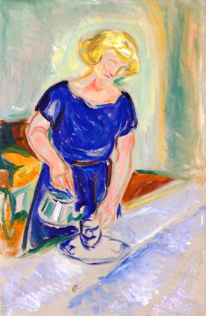 Woman in a Blue Dress Pouring Coffee Edvard Munch - 1924-1926