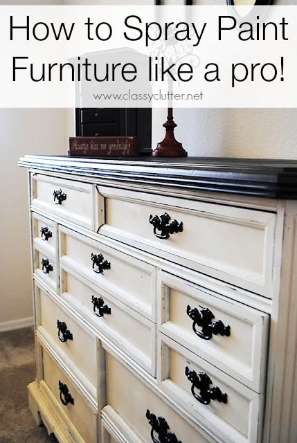 I love the look of this furniture color combo.  How to spray paint furniture - www.classyclutter.net