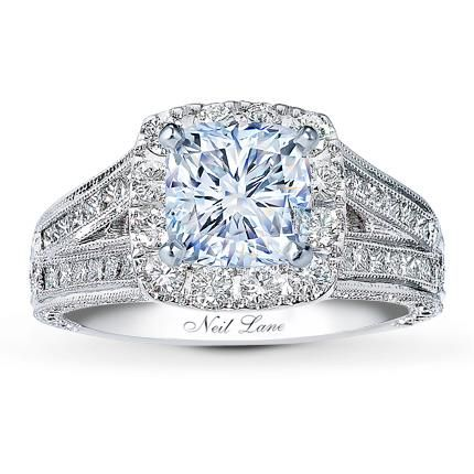 1.01 Carat F-VVS2 Ideal Cut Cushion Diamond plus Neil Lane Ring Setting 1 1/6 ct tw Diamonds Platinum.. My dream engagement ring