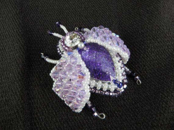 Beaded Crystal Bug Brooch Purple Crystal Beetle by KayhandaJewelry