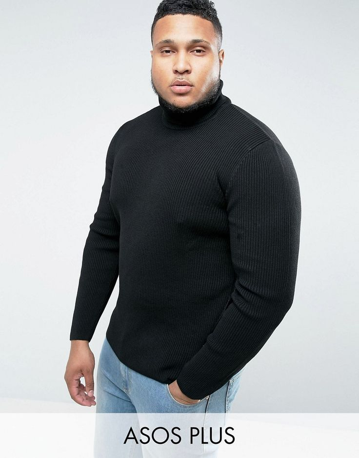 ASOS PLUS Longline Ribbed Roll Neck In Muscle Fit In Black - Black
