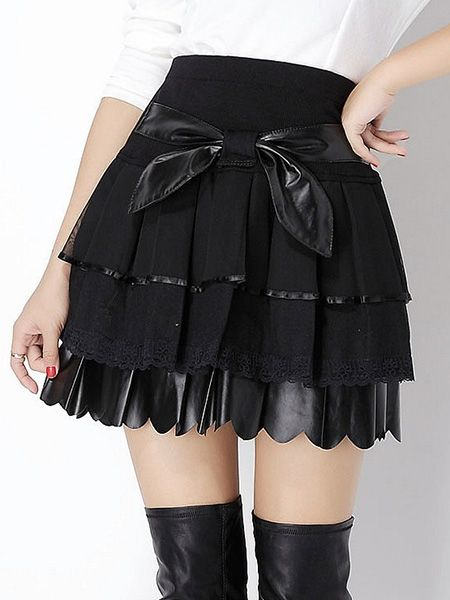Appealing Bowknot Leather Patchwork Mini-skirts Mini Skirts from fashionmia.com
