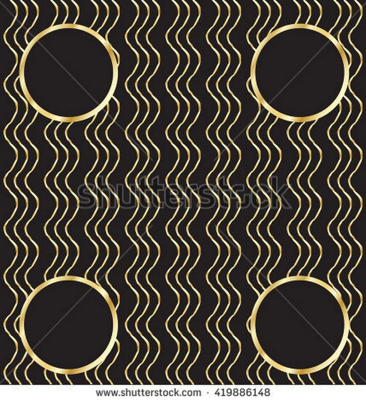 A luxury vintage vector pattern. Black background with beautiful wavy ornaments and gold circles. Vector Illustration.
