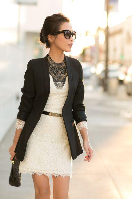 Statement Necklace | Seamless Match to Ivory lace Collarless blazer | Wendys Lookbook