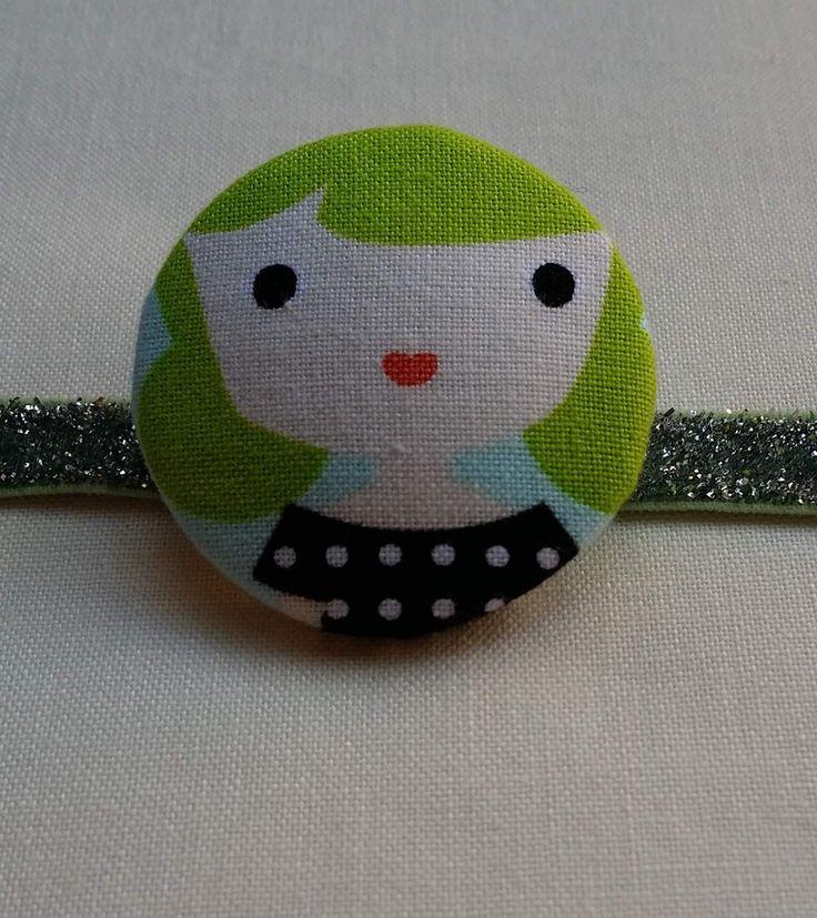 Eva Retro Girl Large Button Bobble Hair Tie    So cute and glittery!  Handmade by Jularoo Designs in Byron Bay Australia. www.jularoo.com