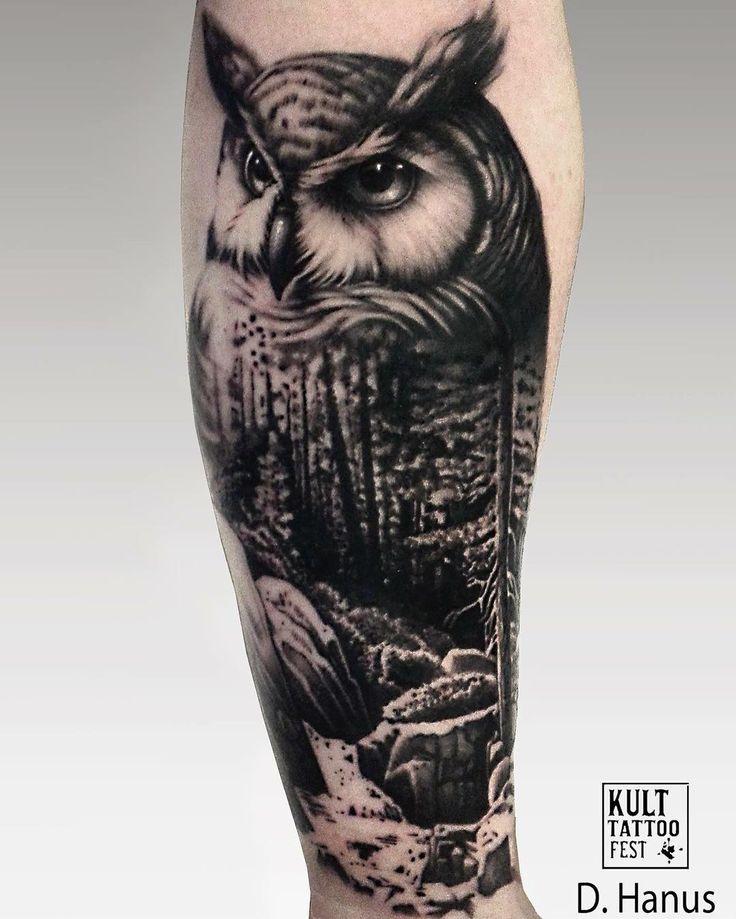 Great blackwork forest and owl tattoo idea #Regram via @kulttattoofest