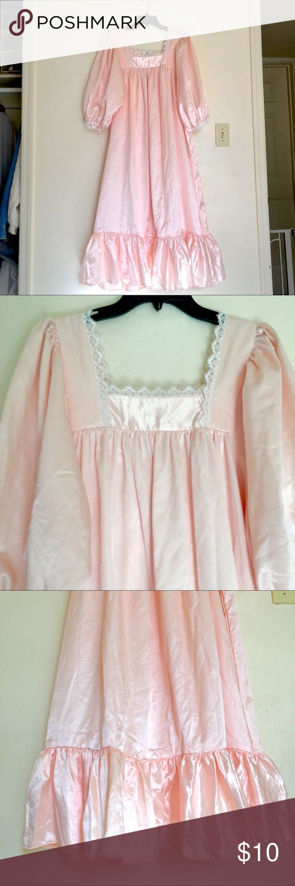 """Flannel Back Satin Nightgown Elbow Sleeves SzL $10 TJW, Size Large, Flannel Backed Satin Nightgown with Large balloon Gathered Elbow Length Sleeves, White picot lace trim, square neckline, full gathered skirt with 8"""" ruffle. Midi to Maxi length depending on height, very wide full skirt. Beautifully Romantic & Feminine! Excellent Condition. Measures 48"""" bust, 84"""" around at hem, 49"""" long from Shoulder. BUNDLE and SAVE TJW Intimates & Sleepwear"""