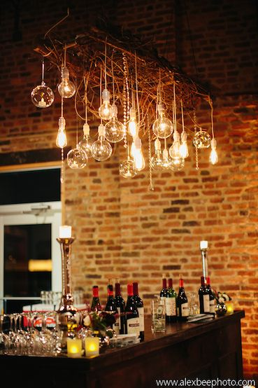 Edison lights with orb votives and crystal garland by Events Nashville at Houston Station