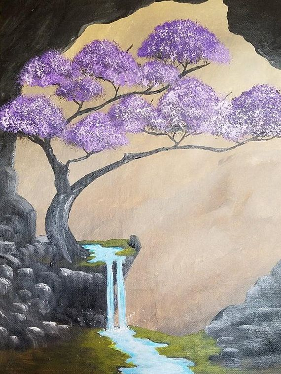 MOUNTAINS BLOSSOM ORIENTAL DESIGN CASCADE WALL HANGING CANVAS PRINT FREE UK P/&P