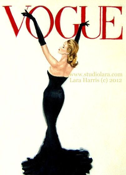 Strike a Pose . . . . .8x10 Fine Art Giclee Print by LARA Portrait Vintage Vogue Cover