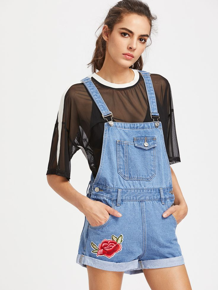 Shop Embroidered Applique Cuffed Denim Short Dungaree online. SheIn offers Embroidered Applique Cuffed Denim Short Dungaree & more to fit your fashionable needs.