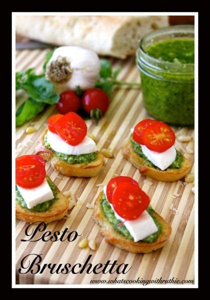 Pesto Bruschetta Recipe quick and easy #appetizer #recipe
