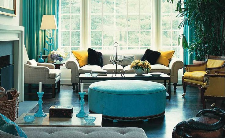 Teal Lounge Design with round tile sofa and patel sofa