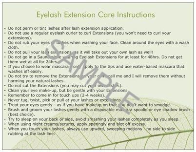 Eyelash Extension Care Cards (50ct)