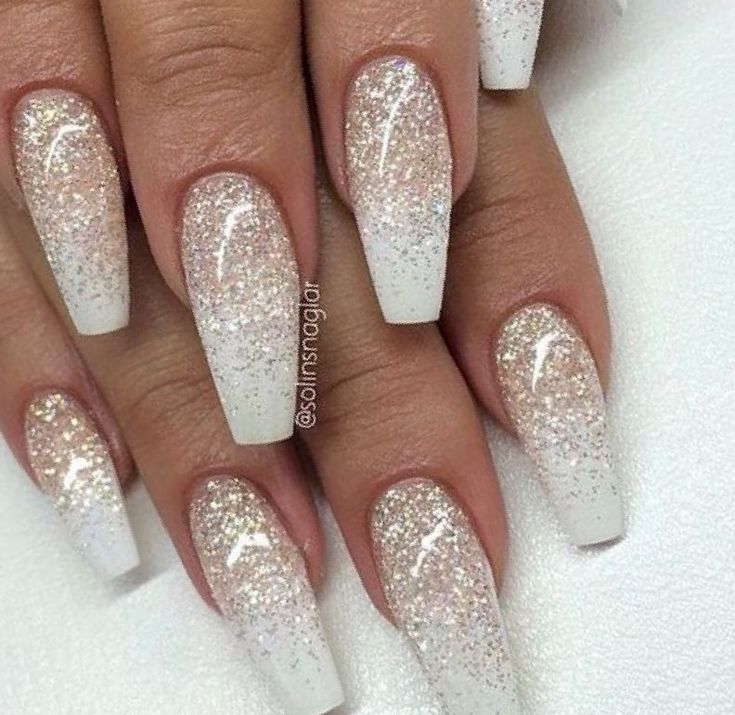 Christmas Diy Nail Ideas And More Of Our Manicures From: Diy Glitter Nails Sliver Pink Clear Gold Short White